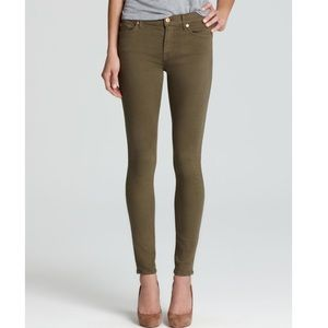 7 For All Mankind Ankle Skinny Jeans in Army Green